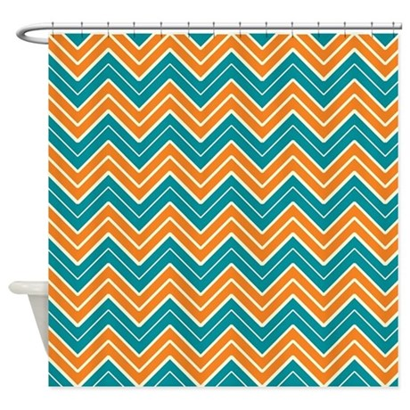 Aqua And Orange Chevron Shower Curtain