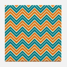 Aqua and Orange Chevron Tile Coaster
