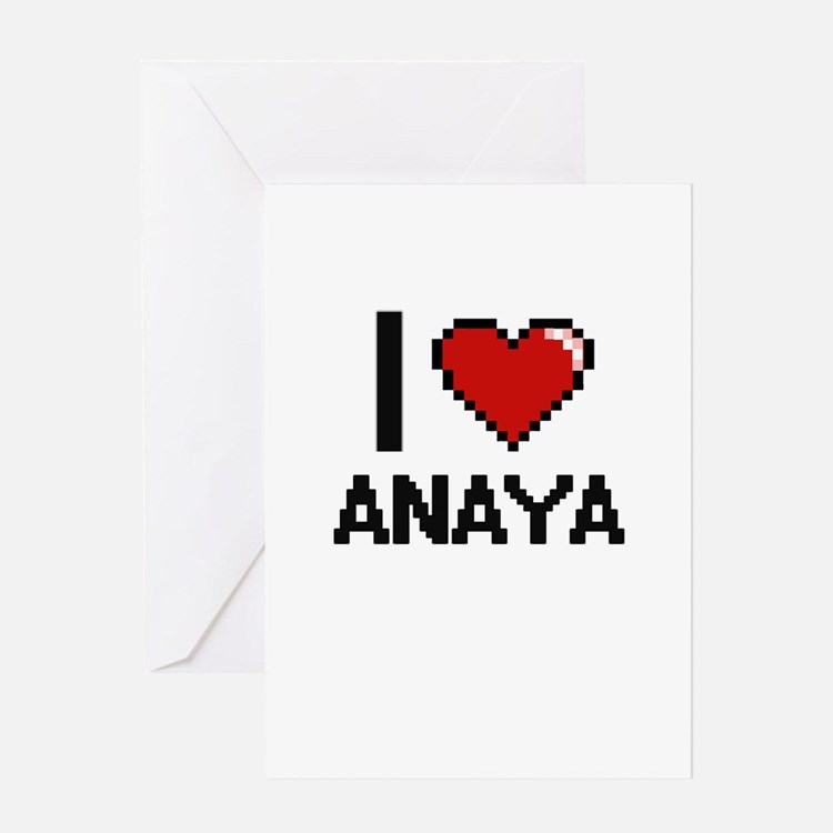 I Love Anaya Digital Retro Design Greeting Cards