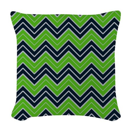 Lime Green Chevron Throw Pillow : Lime Green and Navy Chevron Woven Throw Pillow by CoolPatterns