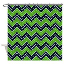 Lime Green and Navy Chevron Shower Curtain