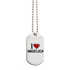 I Love Angelica Digital Retro Design Dog Tags
