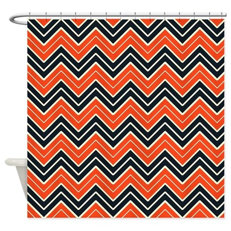 Black And Orange Chevron Shower Curtain By CoolPatterns