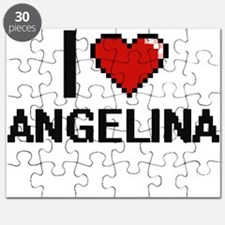 I Love Angelina Digital Retro Design Puzzle