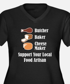 Food Artisan Women's Plus Size V-Neck Dark T-Shirt