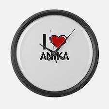 I Love Anika Digital Retro Design Large Wall Clock