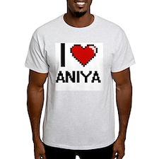 I Love Aniya Digital Retro Design T-Shirt