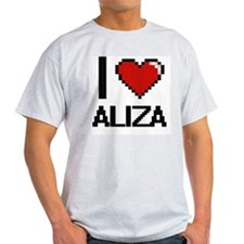 I Love Aliza Digital Retro Design T-Shirt