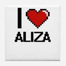 I Love Aliza Digital Retro Design Tile Coaster