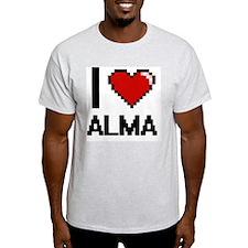 I Love Alma Digital Retro Design T-Shirt