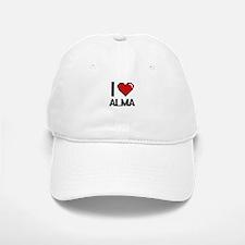 I Love Alma Digital Retro Design Baseball Baseball Cap