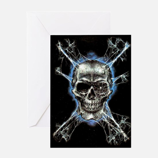 Electric Skull and Crossbones Greeting Cards