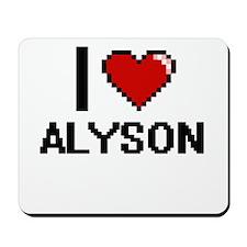 I Love Alyson Digital Retro Design Mousepad