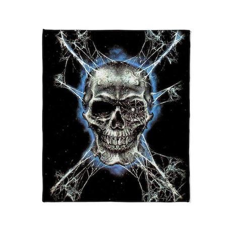 Electric Skull And Crossbones Throw Blanket By Samee1designs