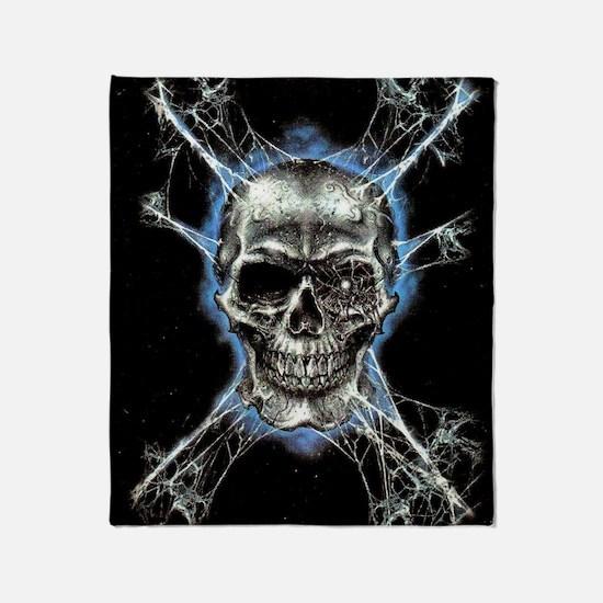 Electric Skull and Crossbones Throw Blanket