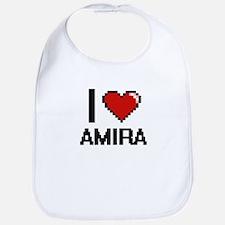 I Love Amira Digital Retro Design Bib