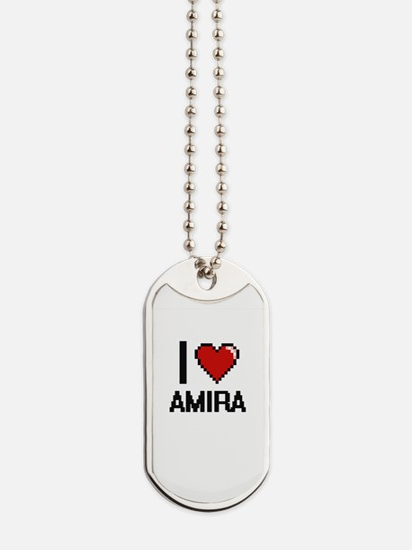 I Love Amira Digital Retro Design Dog Tags