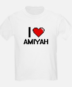 I Love Amiyah Digital Retro Design T-Shirt