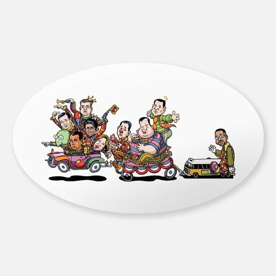 Clown Car 5-15b Sticker (Oval)