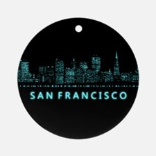 Digital Cityscape: San Francisco, C Round Ornament