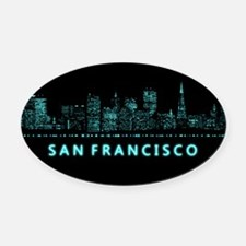 Digital Cityscape: San Francisco, Oval Car Magnet