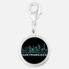 Digital Cityscape: San Francis Silver Round Charm