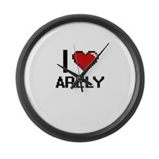 I Love Arely Digital Retro Design Large Wall Clock