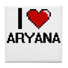 I Love Aryana Digital Retro Design Tile Coaster