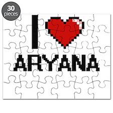 I Love Aryana Digital Retro Design Puzzle