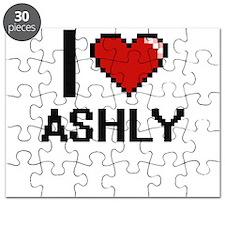 I Love Ashly Digital Retro Design Puzzle