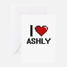 I Love Ashly Digital Retro Design Greeting Cards