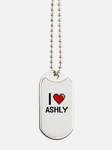 I Love Ashly Digital Retro Design Dog Tags