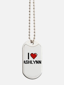 I Love Ashlynn Digital Retro Design Dog Tags