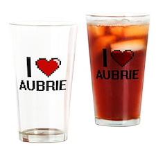 I Love Aubrie Digital Retro Design Drinking Glass