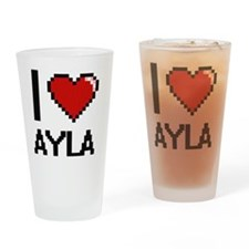 I Love Ayla Digital Retro Design Drinking Glass