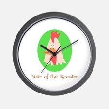 Cartoon Year of the Rooster Wall Clock