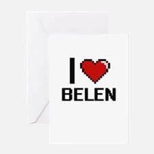 I Love Belen Digital Retro Design Greeting Cards