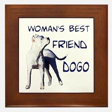 Cute Argentine dogo Framed Tile