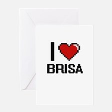 I Love Brisa Digital Retro Design Greeting Cards