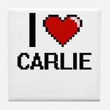 I Love Carlie Digital Retro Design Tile Coaster