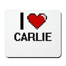I Love Carlie Digital Retro Design Mousepad