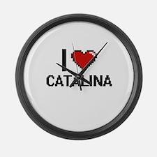 I Love Catalina Digital Retro Des Large Wall Clock