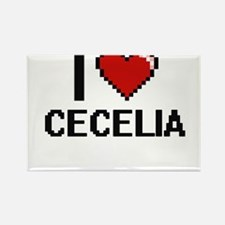 I Love Cecelia Digital Retro Design Magnets