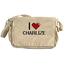 I Love Charlize Digital Retro Design Messenger Bag