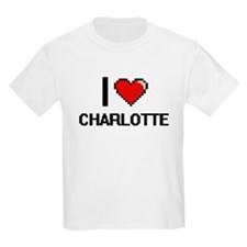 I Love Charlotte Digital Retro Design T-Shirt