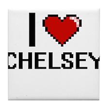 I Love Chelsey Digital Retro Design Tile Coaster