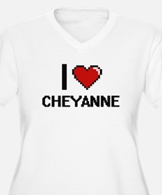 I Love Cheyanne Digital Retro De Plus Size T-Shirt