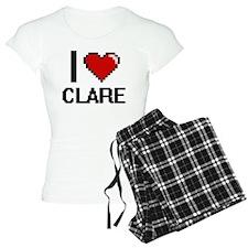 I Love Clare Digital Retro Pajamas