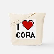 I Love Cora Digital Retro Design Tote Bag