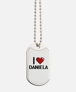 I Love Daniela Digital Retro Design Dog Tags